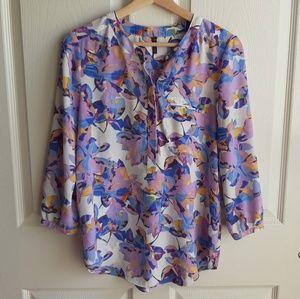 NYDJ Purple Floral Pintuck Henley Blouse Size XS